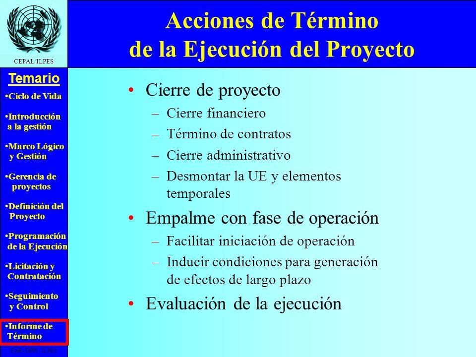 Acciones de Término de la Ejecución del Proyecto