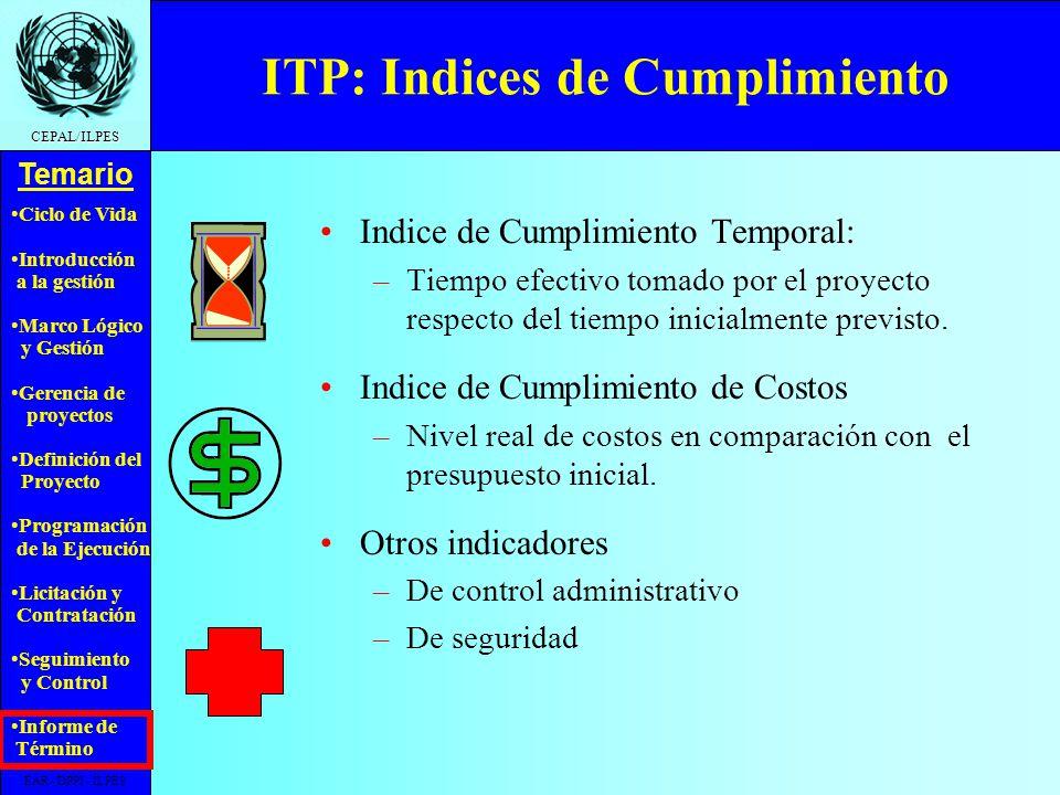ITP: Indices de Cumplimiento