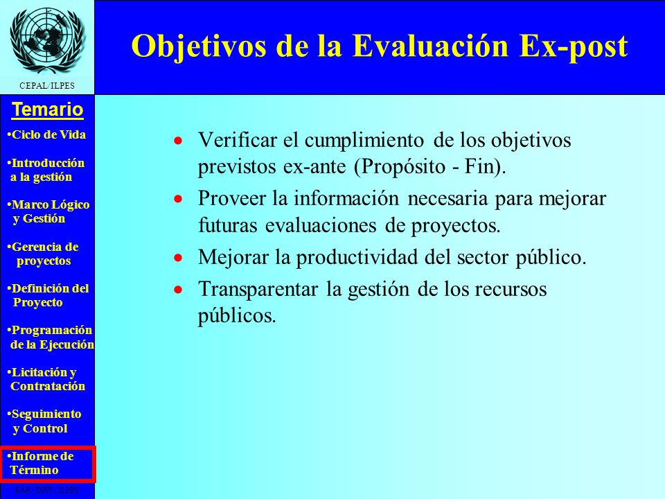 Objetivos de la Evaluación Ex-post