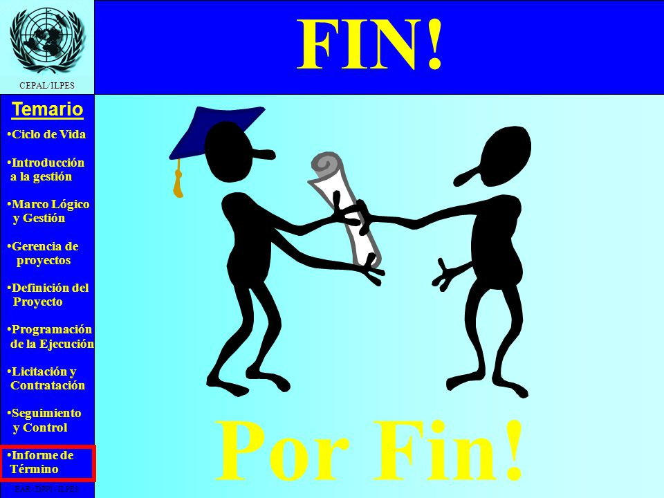 FIN! Por Fin! EAR - DPPI - ILPES