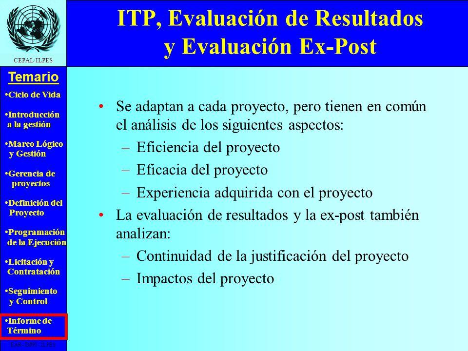 ITP, Evaluación de Resultados y Evaluación Ex-Post