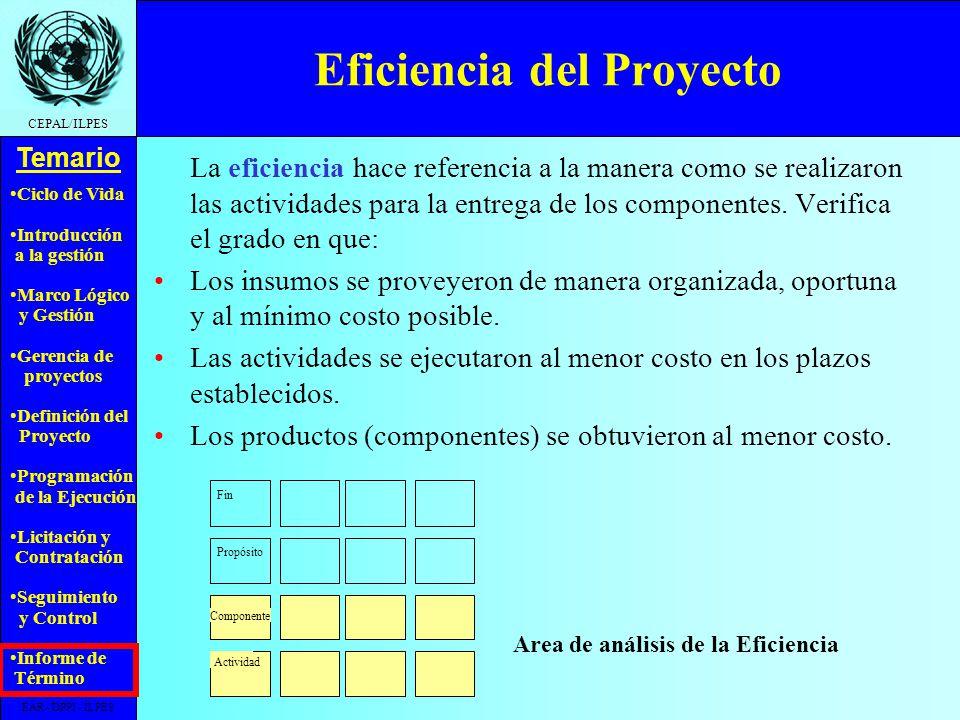 Eficiencia del Proyecto