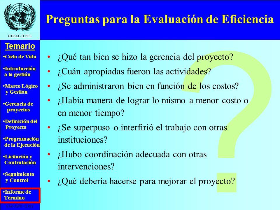 Preguntas para la Evaluación de Eficiencia