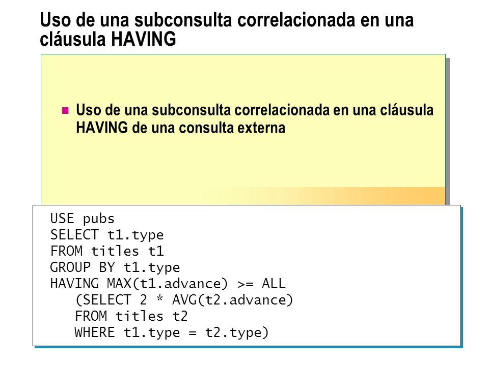 Uso de una subconsulta correlacionada en una cláusula HAVING