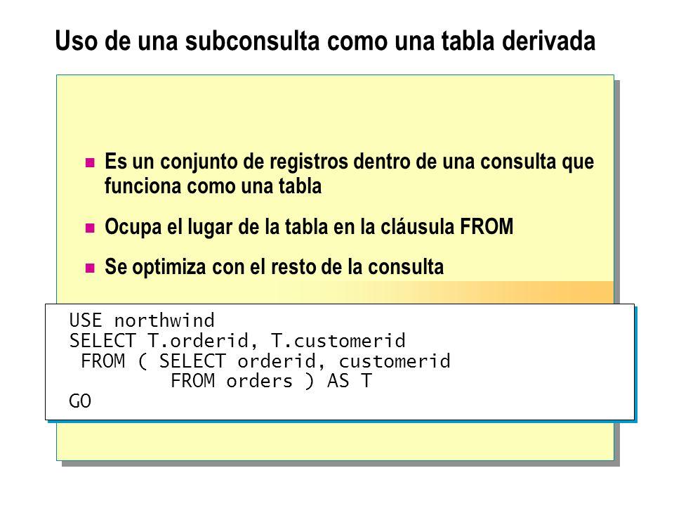 Uso de una subconsulta como una tabla derivada