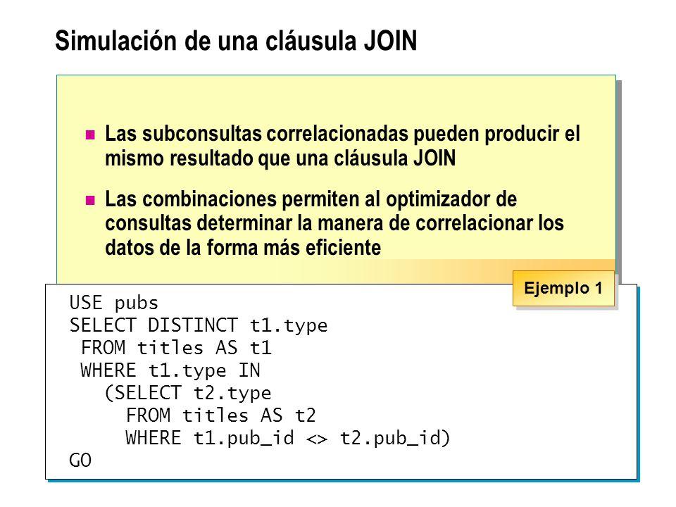 Simulación de una cláusula JOIN
