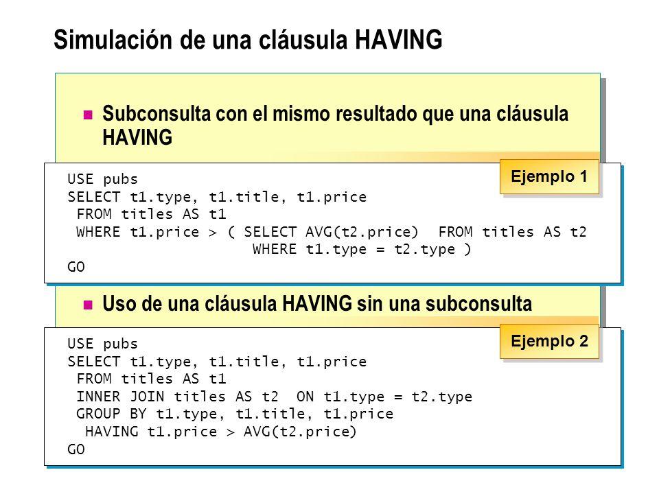 Simulación de una cláusula HAVING