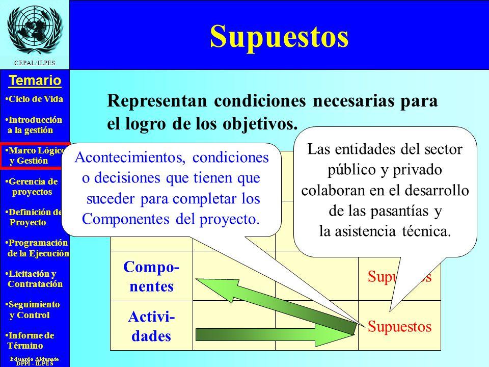Supuestos Representan condiciones necesarias para el logro de los objetivos. Las entidades del sector.