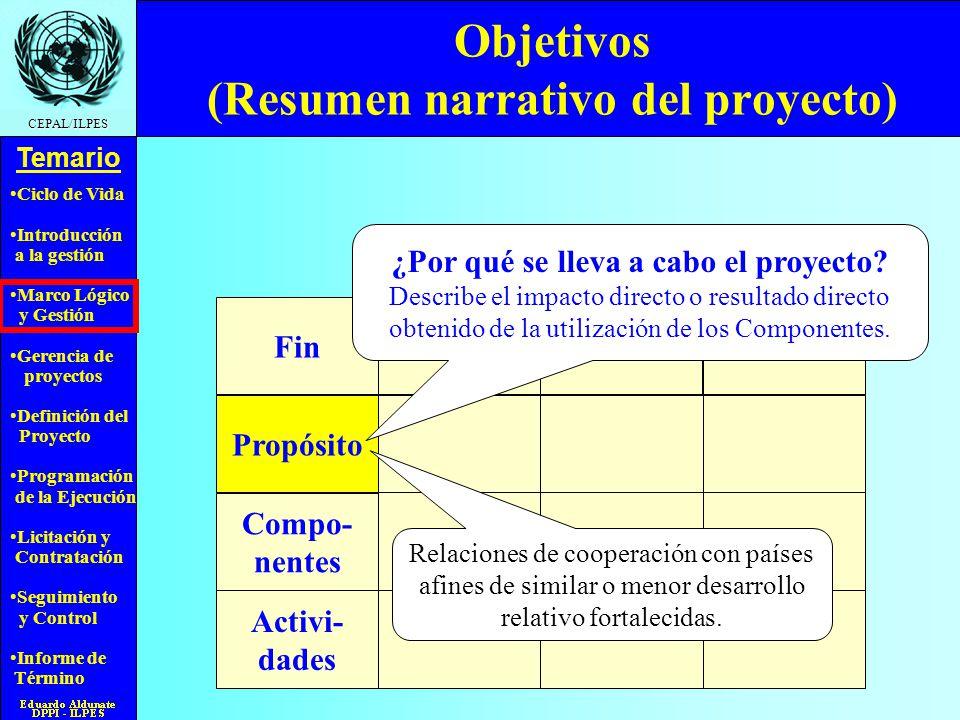 Objetivos (Resumen narrativo del proyecto)