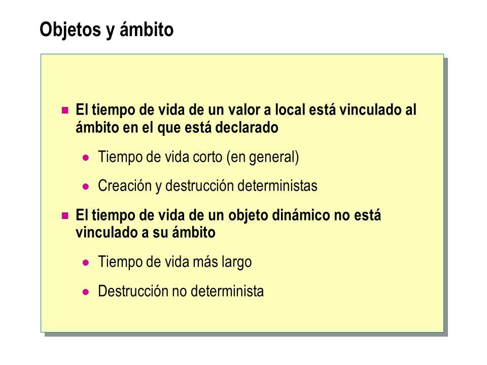 Objetos y ámbito El tiempo de vida de un valor a local está vinculado al ámbito en el que está declarado.