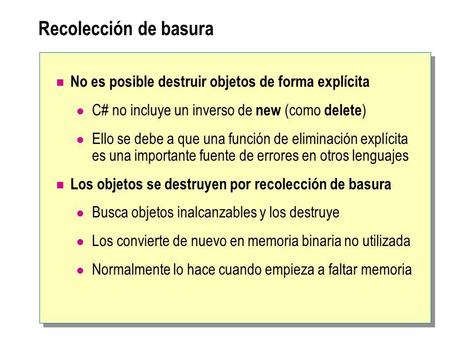 Recolección de basura No es posible destruir objetos de forma explícita. C# no incluye un inverso de new (como delete)