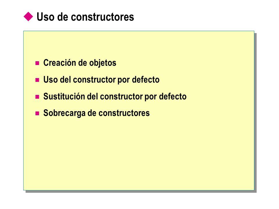 Uso de constructores Creación de objetos