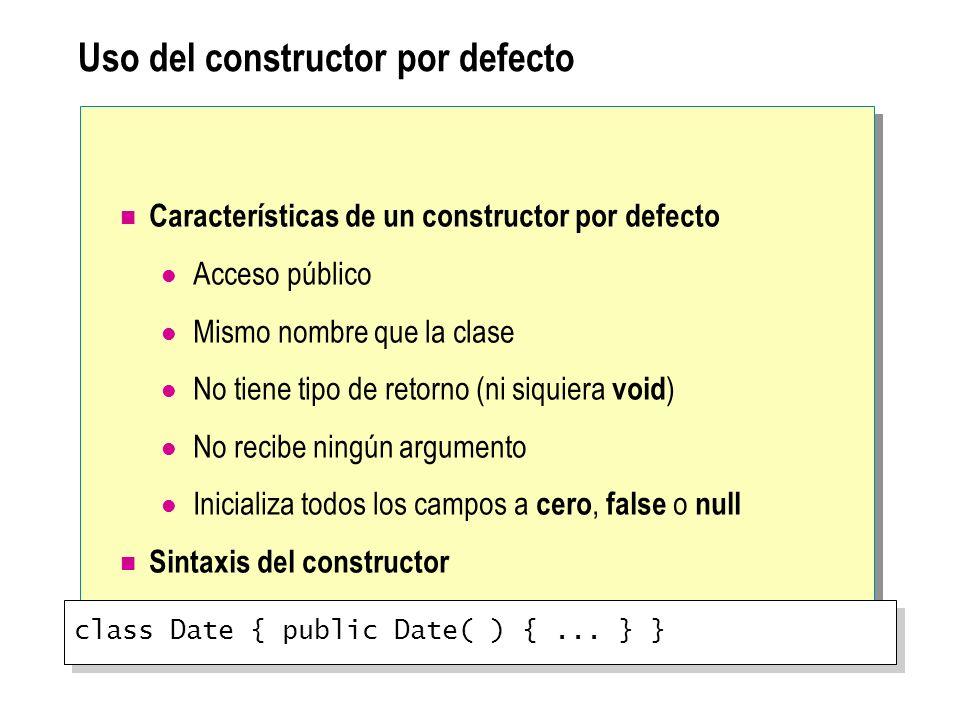 Uso del constructor por defecto