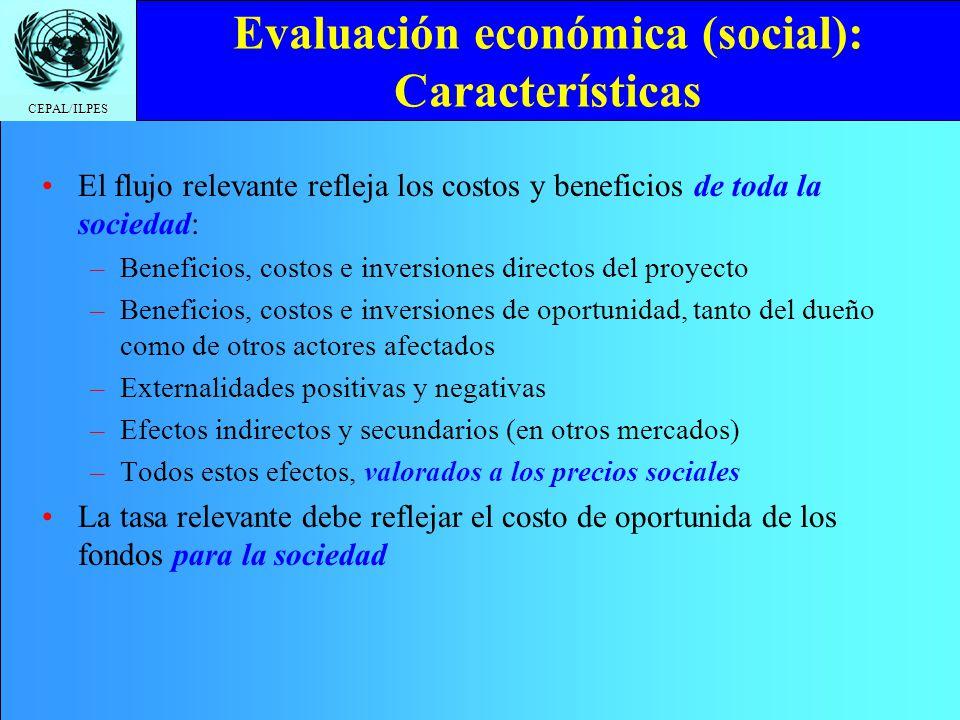 Evaluación económica (social): Características