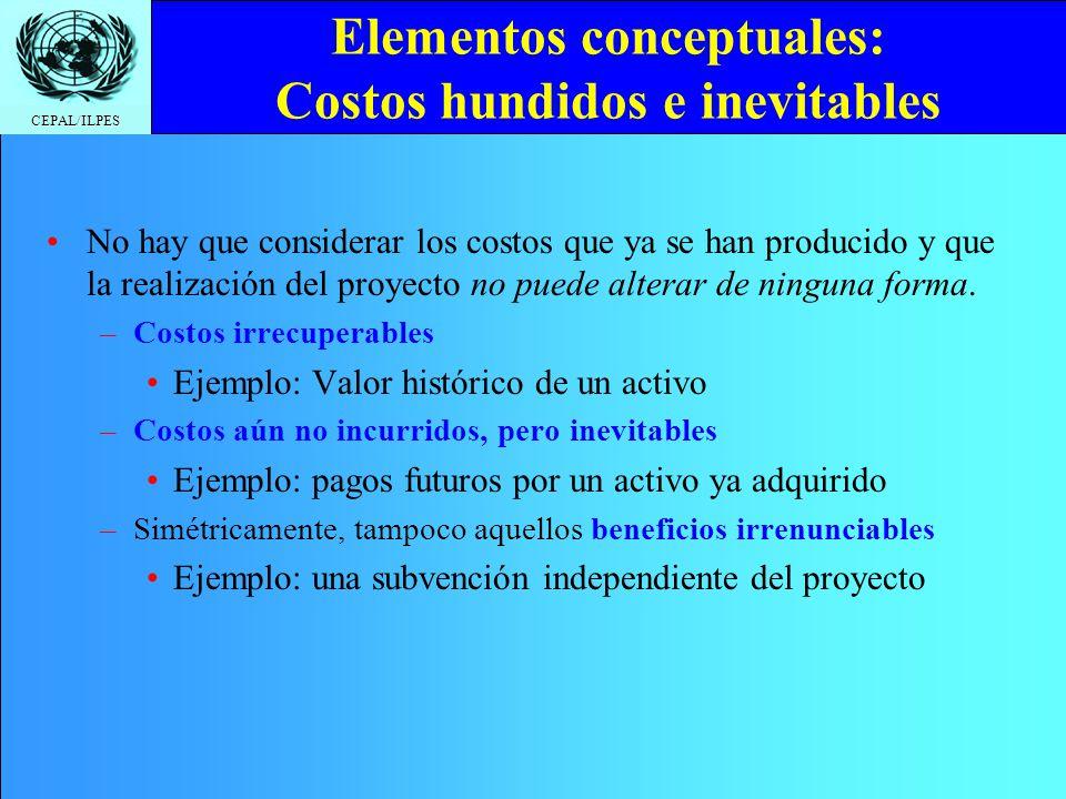Elementos conceptuales: Costos hundidos e inevitables
