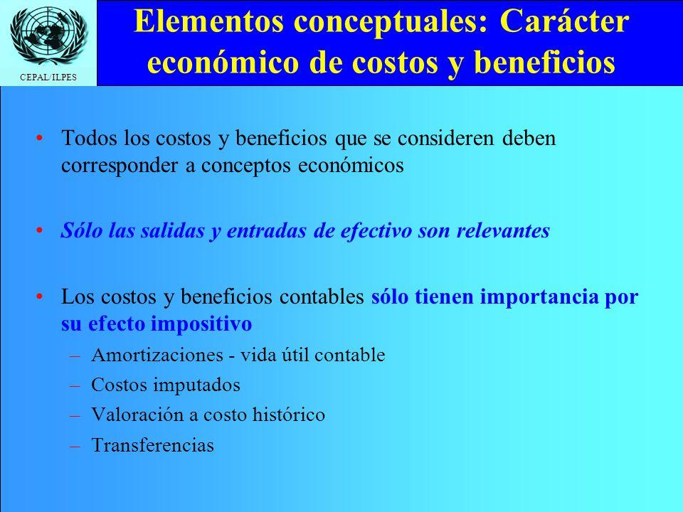 Elementos conceptuales: Carácter económico de costos y beneficios