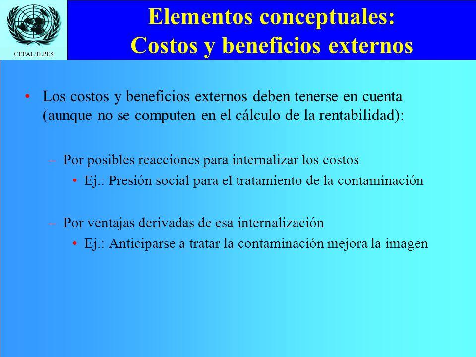 Elementos conceptuales: Costos y beneficios externos