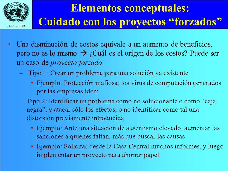 Elementos conceptuales: Cuidado con los proyectos forzados