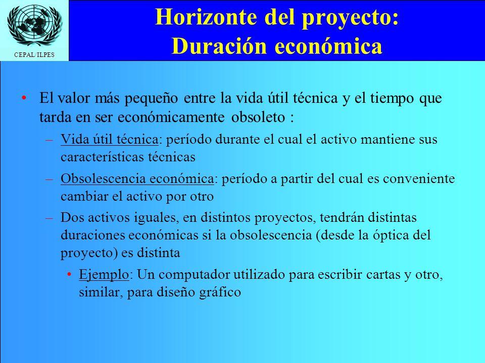 Horizonte del proyecto: Duración económica