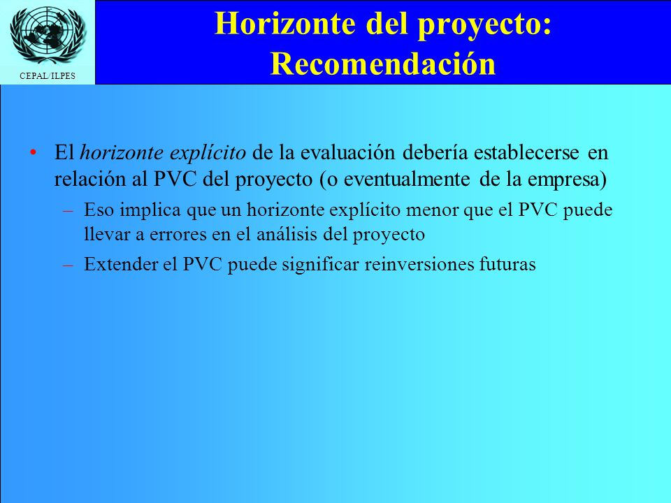 Horizonte del proyecto: Recomendación
