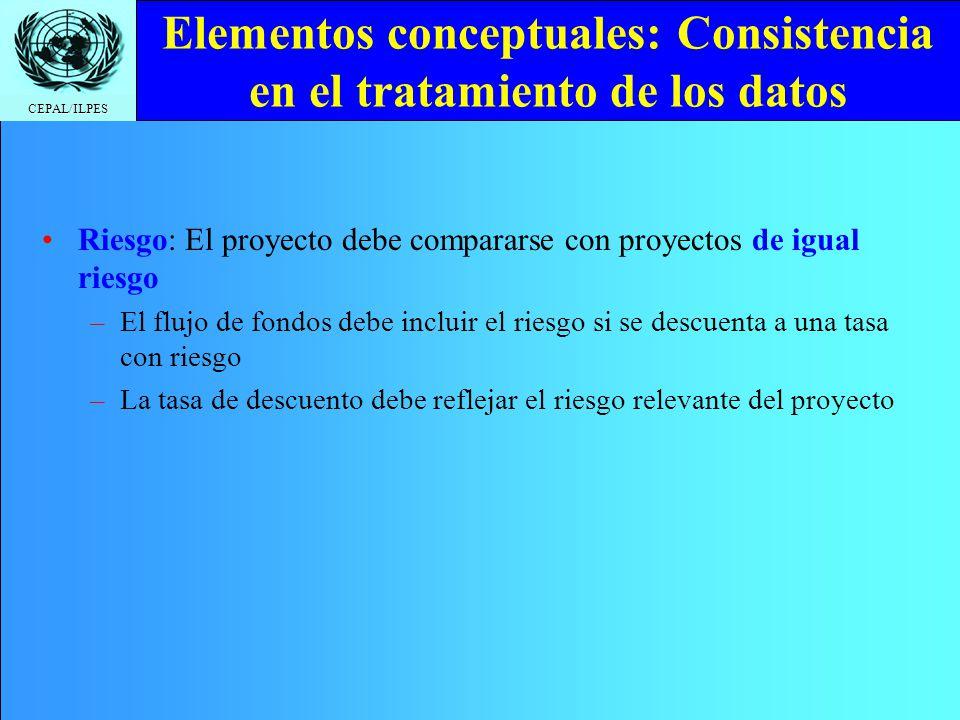 Elementos conceptuales: Consistencia en el tratamiento de los datos