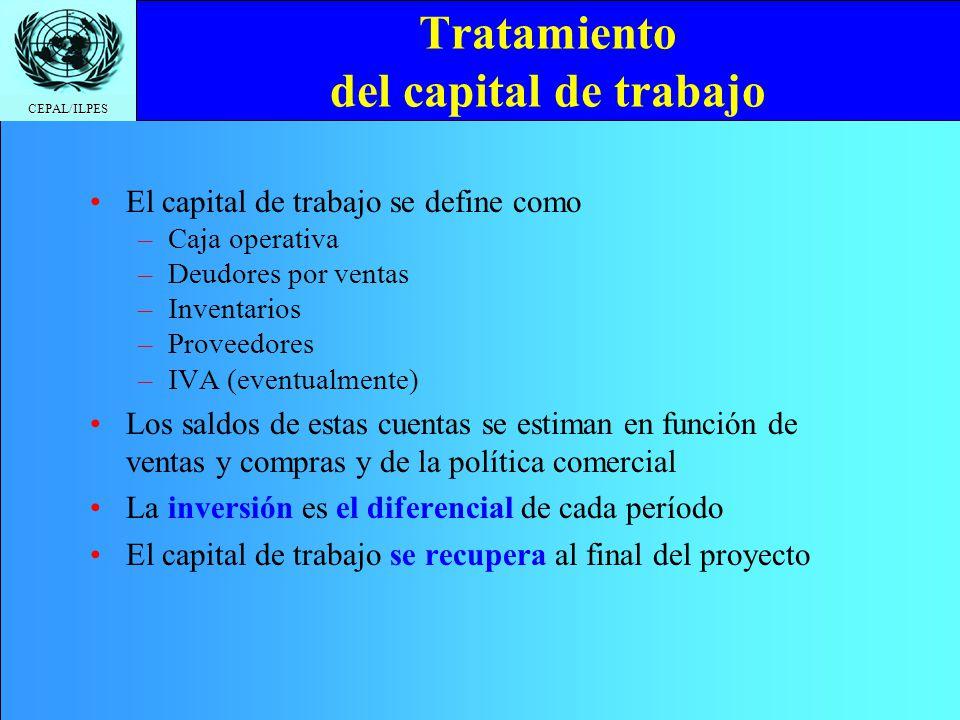 Tratamiento del capital de trabajo