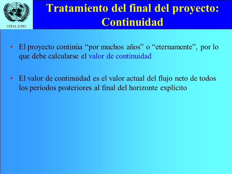 Tratamiento del final del proyecto: Continuidad