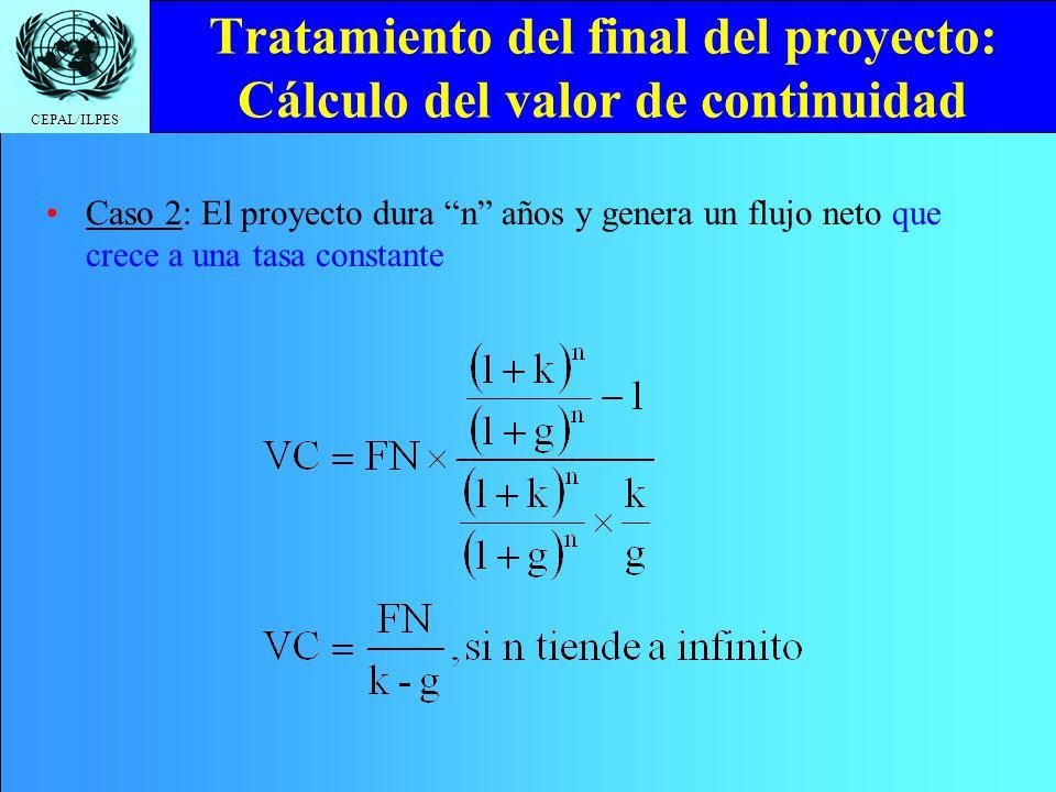 Tratamiento del final del proyecto: Cálculo del valor de continuidad