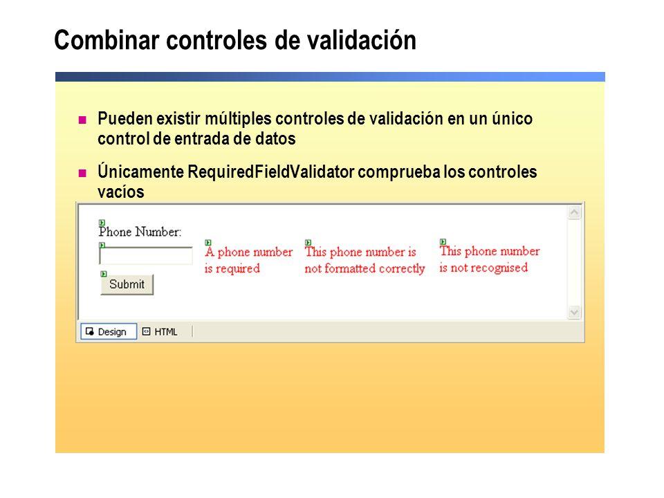 Combinar controles de validación