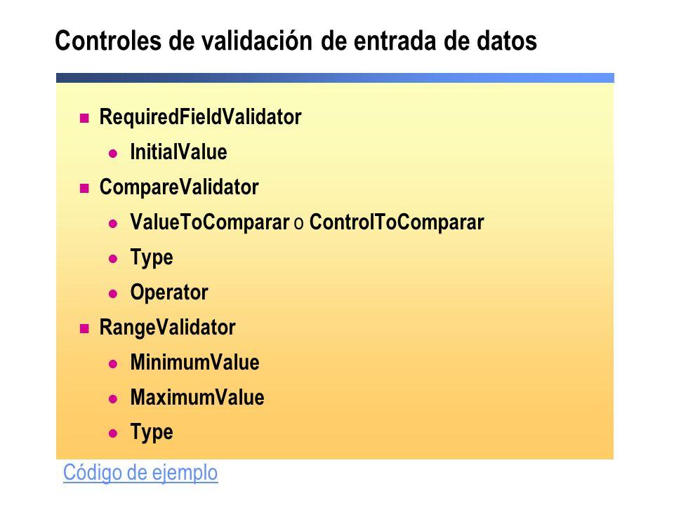Controles de validación de entrada de datos