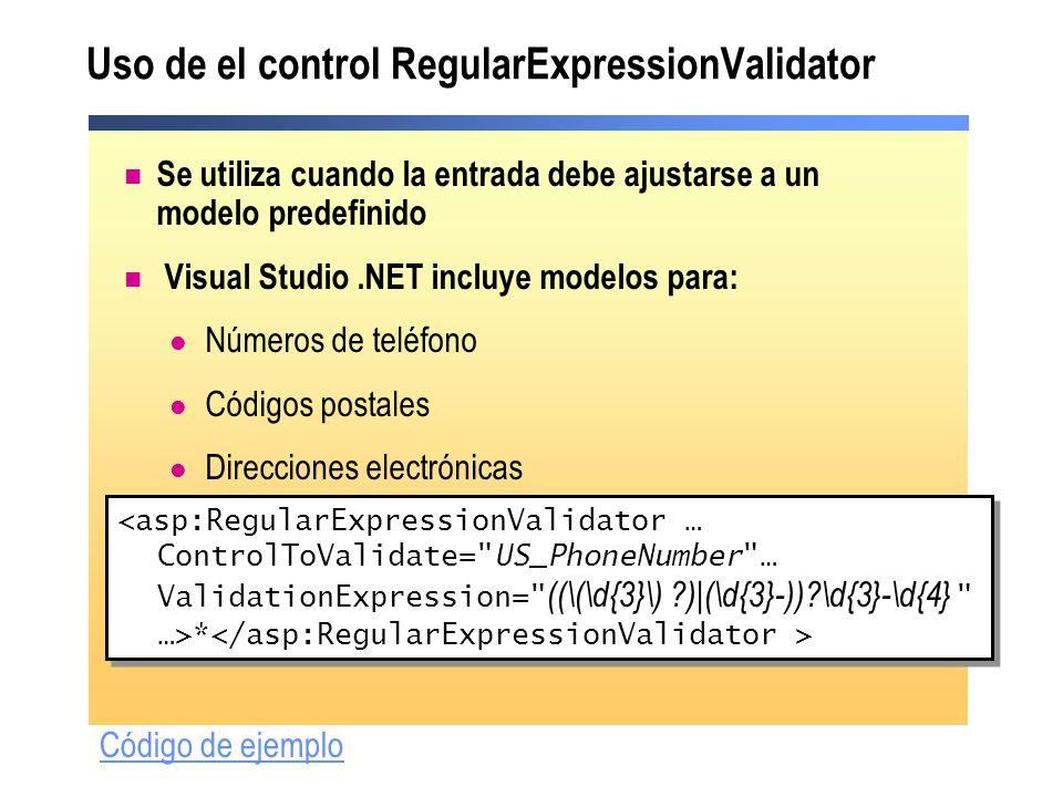 Uso de el control RegularExpressionValidator