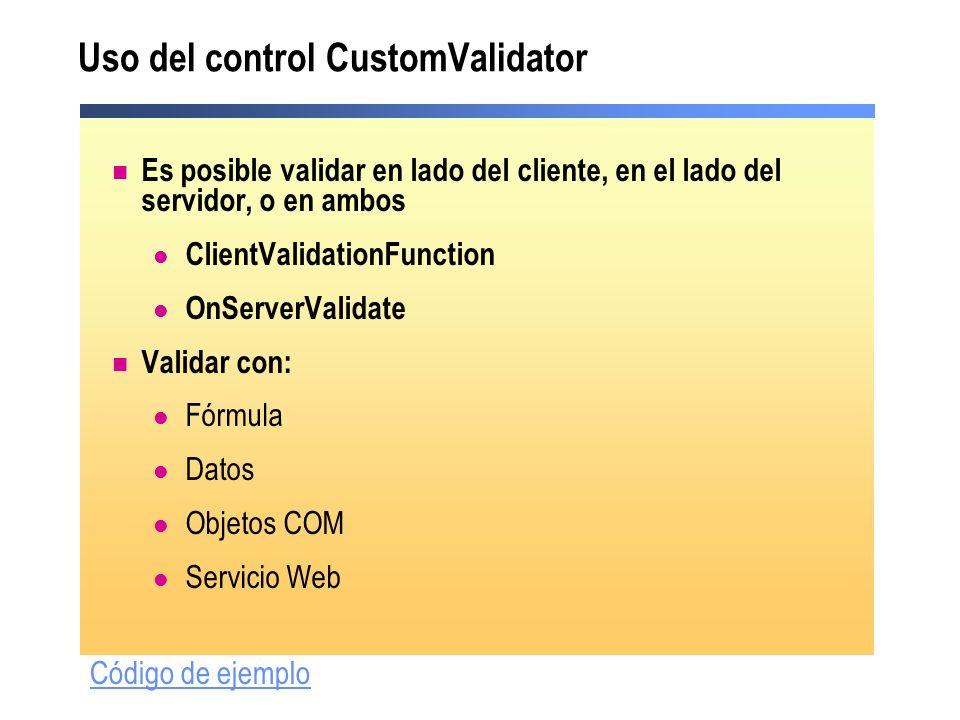 Uso del control CustomValidator