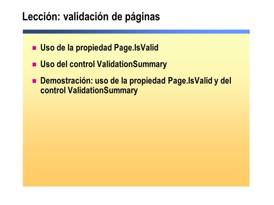 Lección: validación de páginas