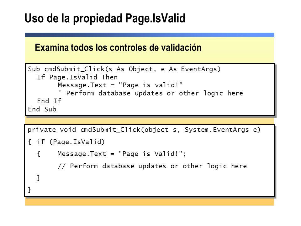 Uso de la propiedad Page.IsValid