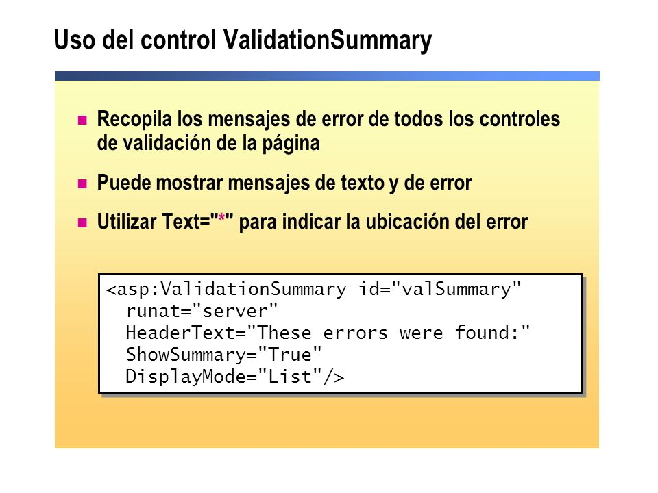 Uso del control ValidationSummary