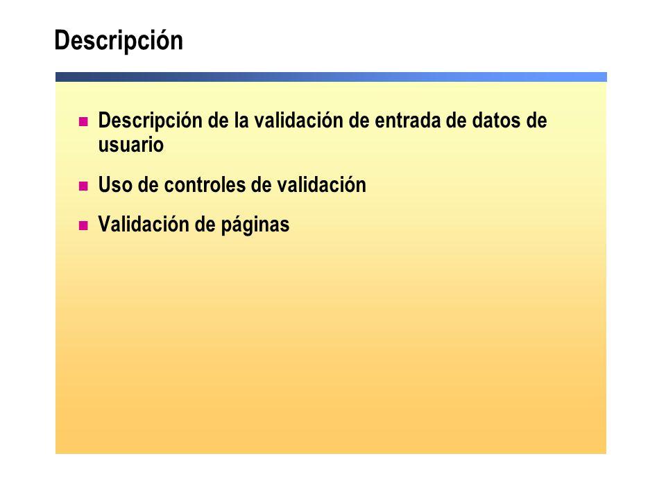 Descripción Descripción de la validación de entrada de datos de usuario. Uso de controles de validación.