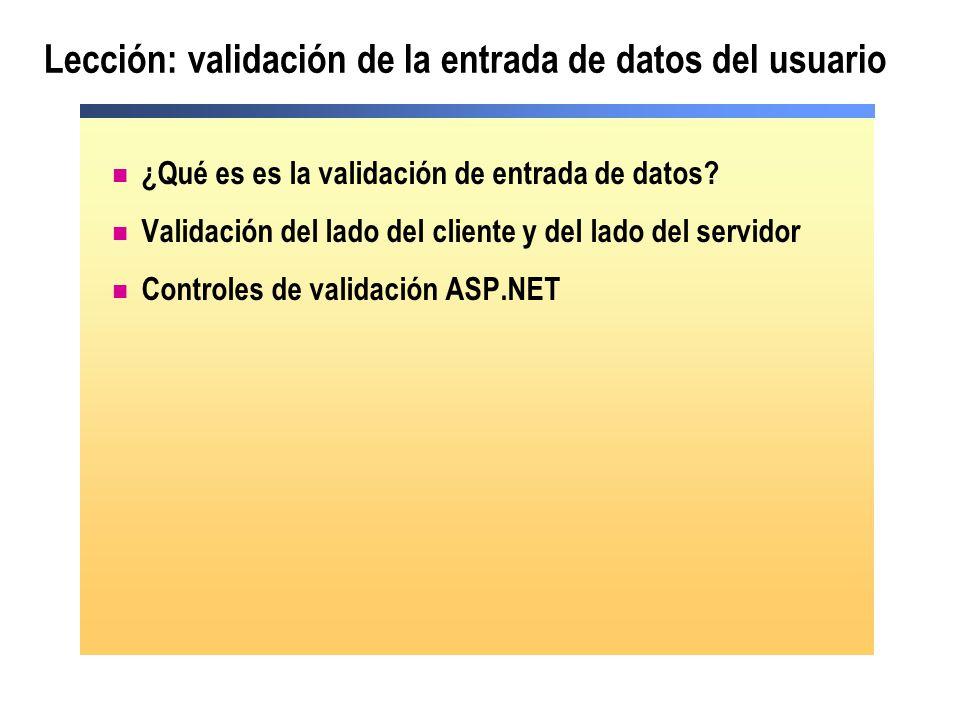 Lección: validación de la entrada de datos del usuario