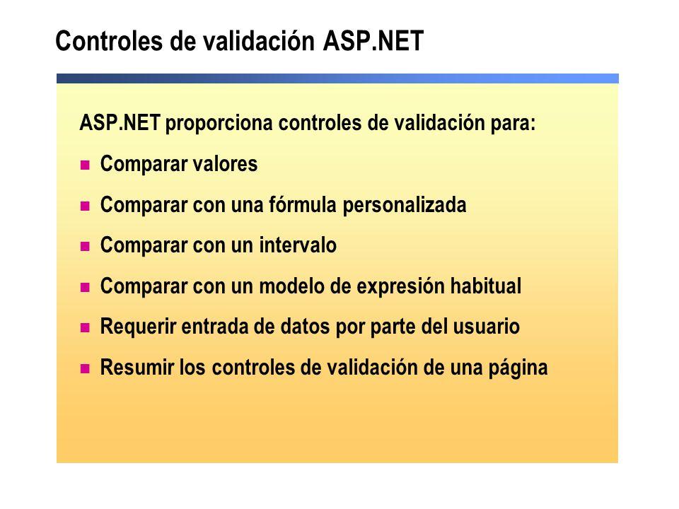 Controles de validación ASP.NET