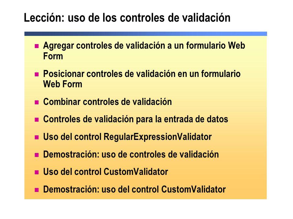 Lección: uso de los controles de validación