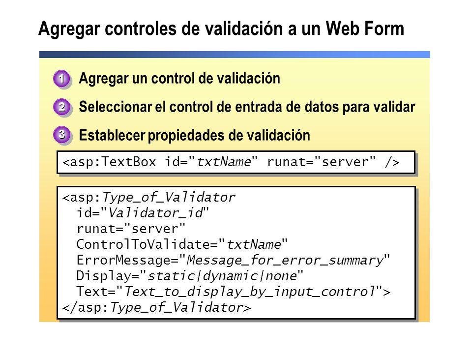 Agregar controles de validación a un Web Form
