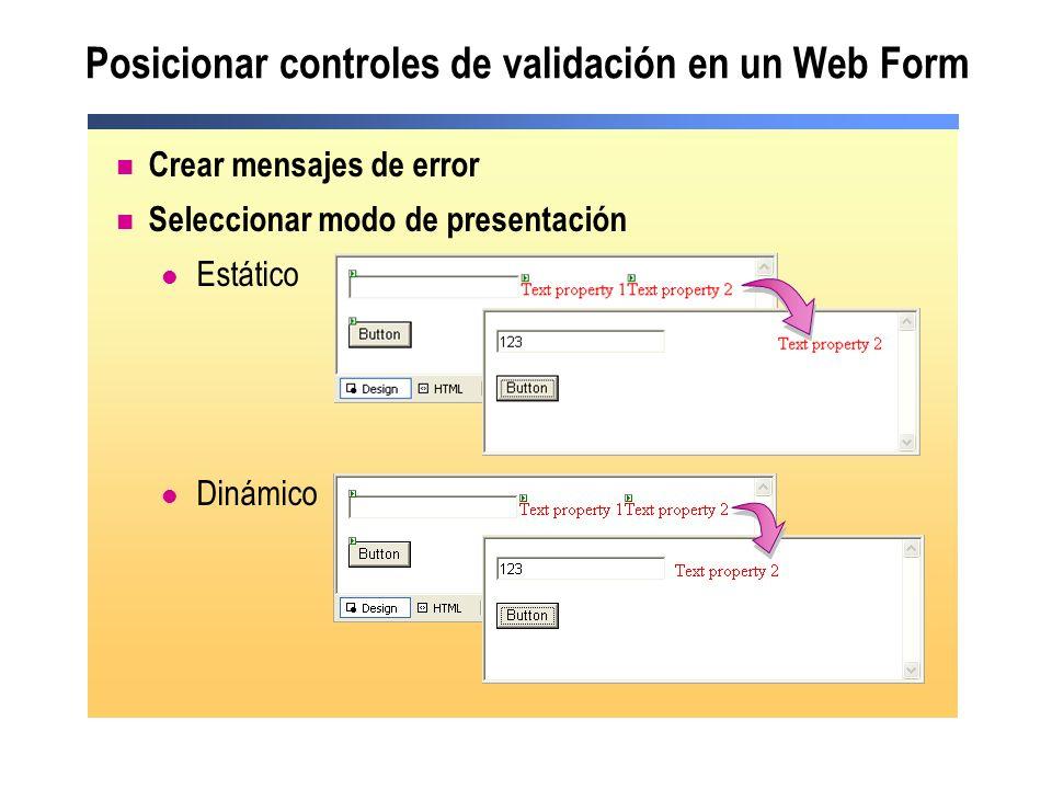 Posicionar controles de validación en un Web Form