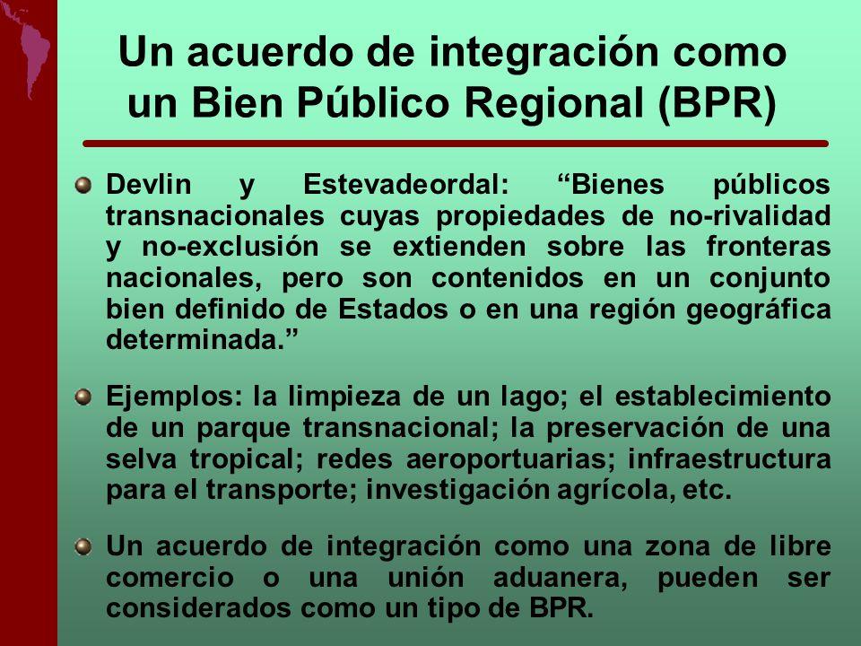 Un acuerdo de integración como un Bien Público Regional (BPR)