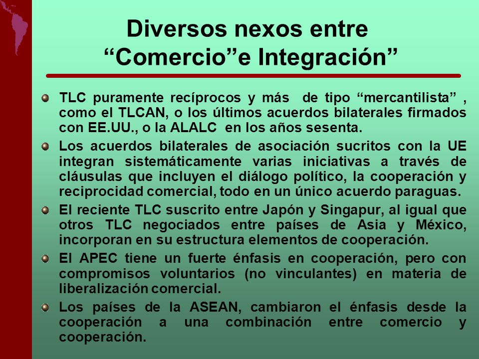 Diversos nexos entre Comercio e Integración