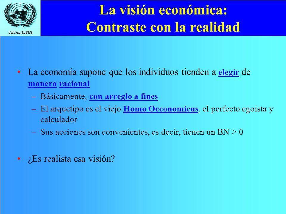 La visión económica: Contraste con la realidad