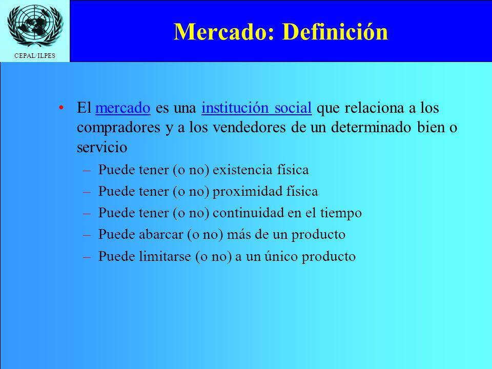 Mercado: Definición El mercado es una institución social que relaciona a los compradores y a los vendedores de un determinado bien o servicio.