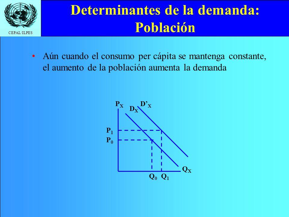 Determinantes de la demanda: Población