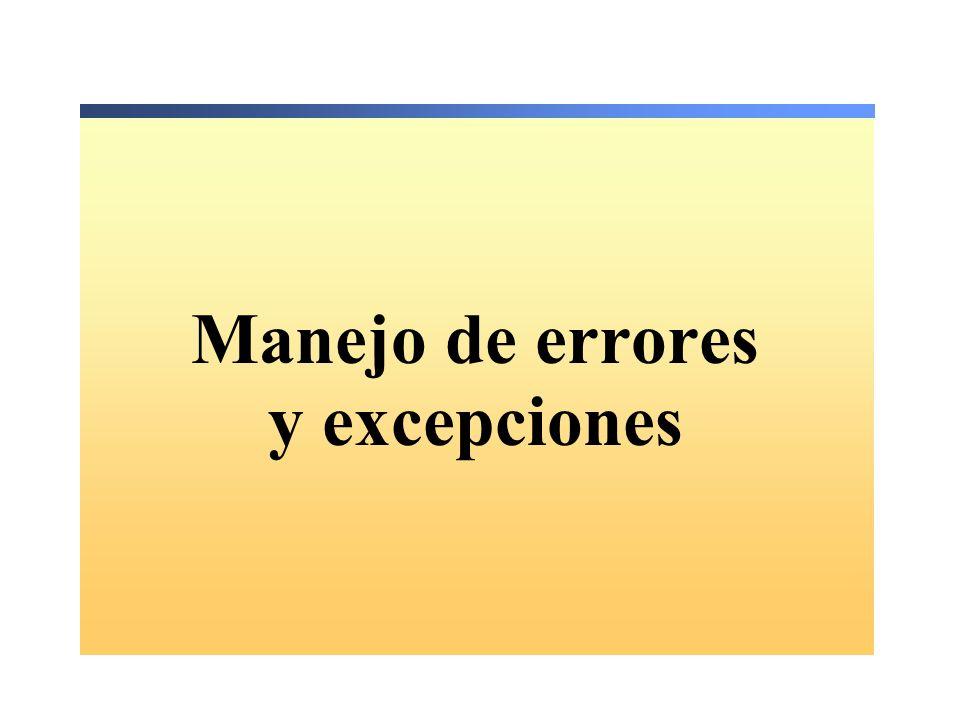 Manejo de errores y excepciones