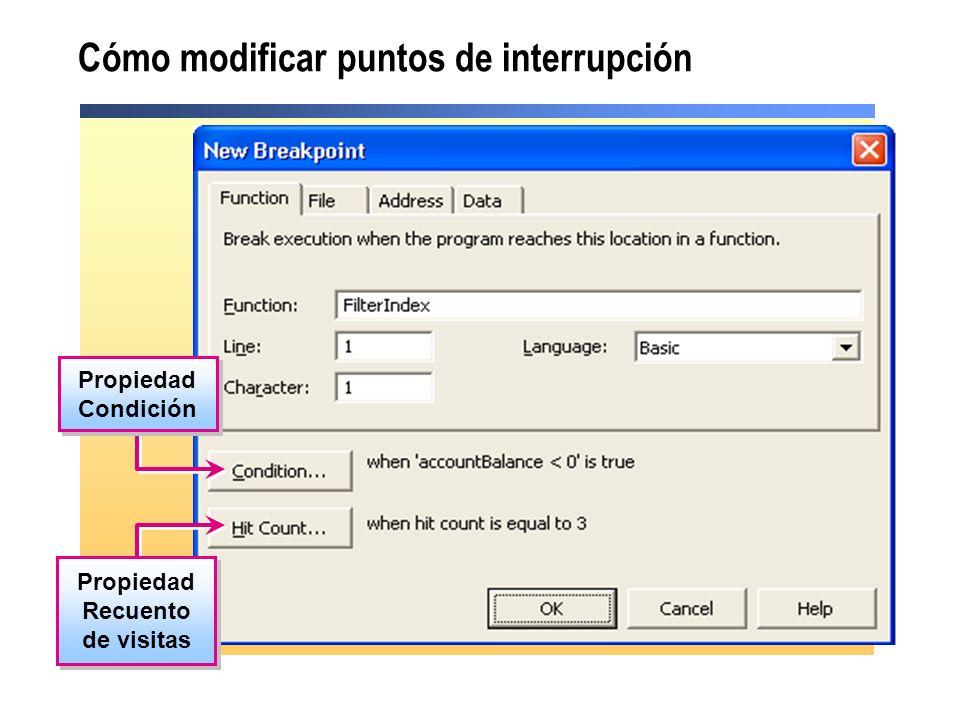 Cómo modificar puntos de interrupción