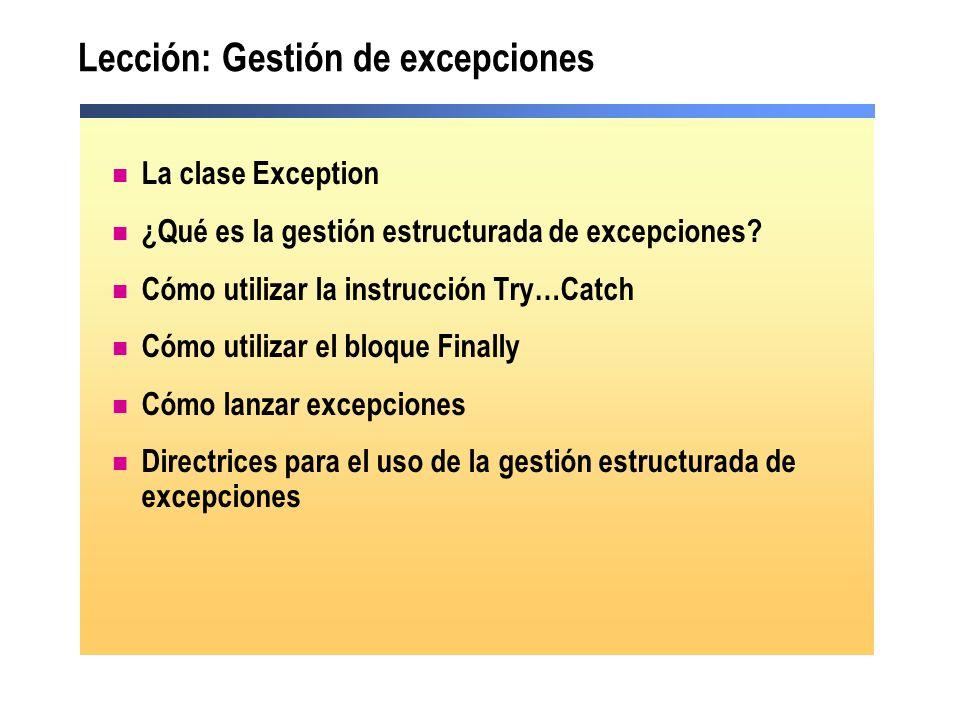 Lección: Gestión de excepciones