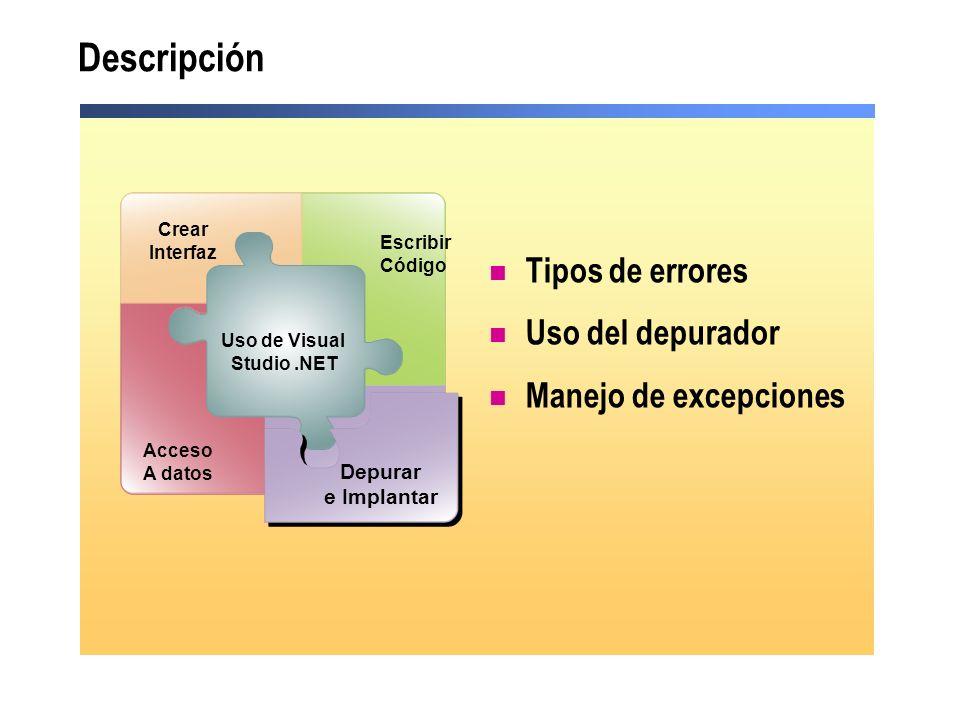 Descripción Tipos de errores Uso del depurador Manejo de excepciones
